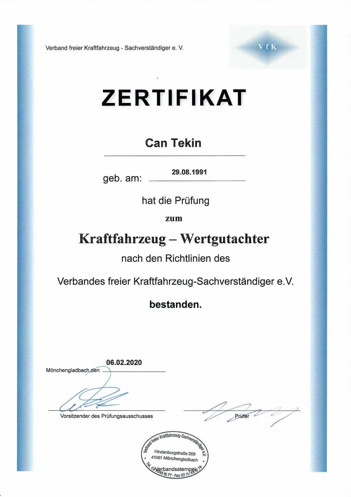 Can Tekin Wertgutachter Zertifikat