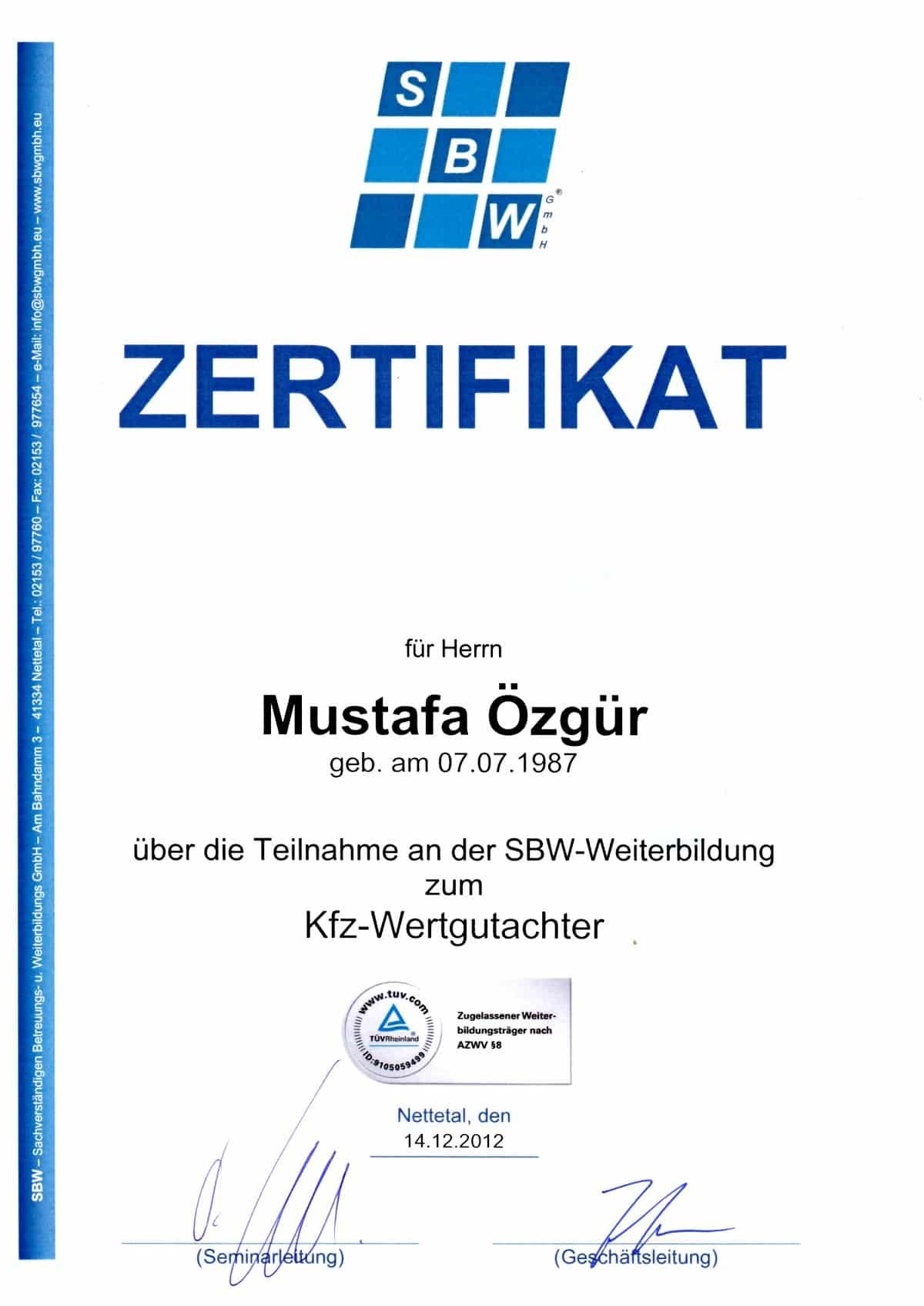 KFZ Wertgutachten Zertifikat Mustafa Özgür