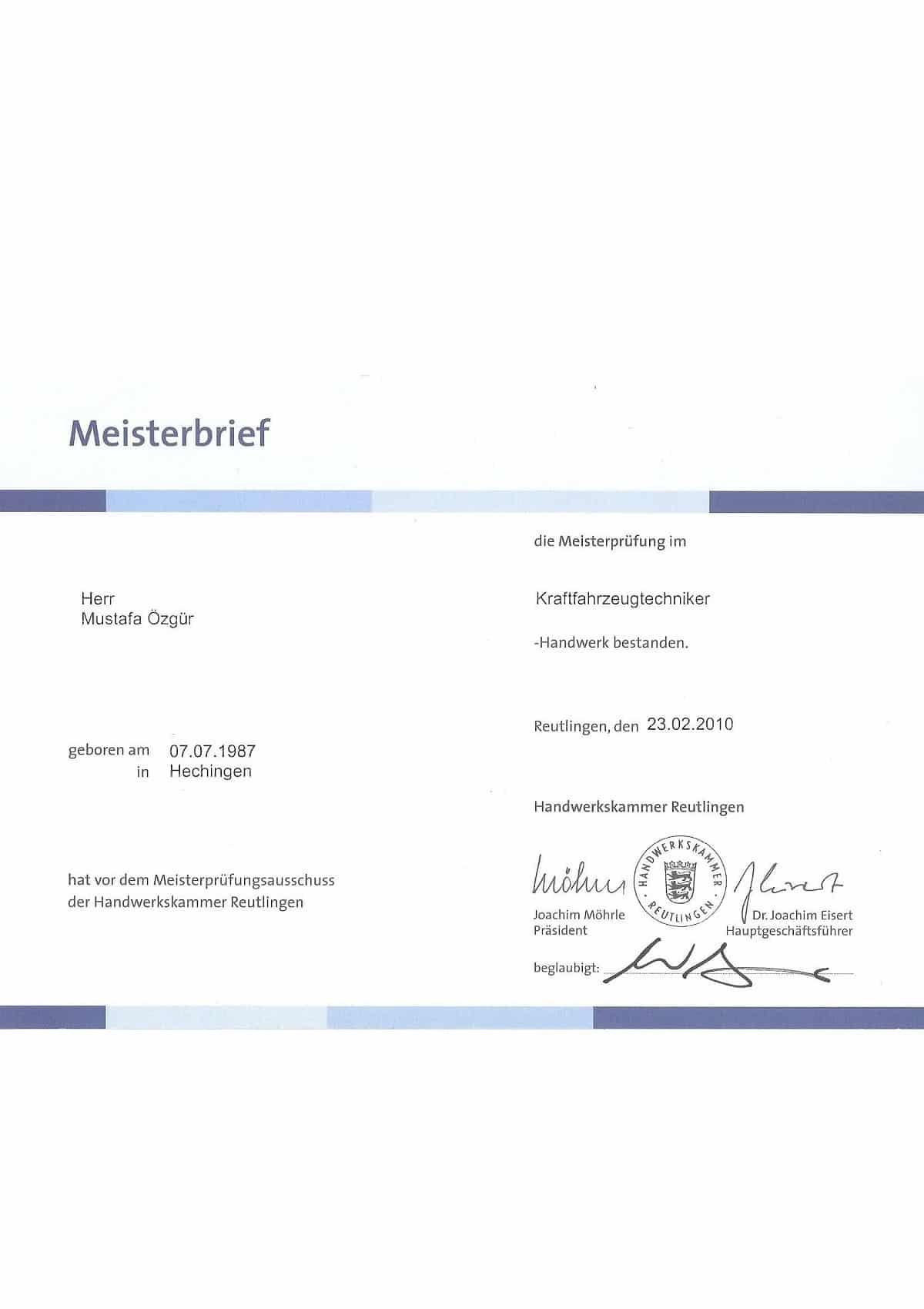 Meisterbrief KFZ Mustafa Özgür
