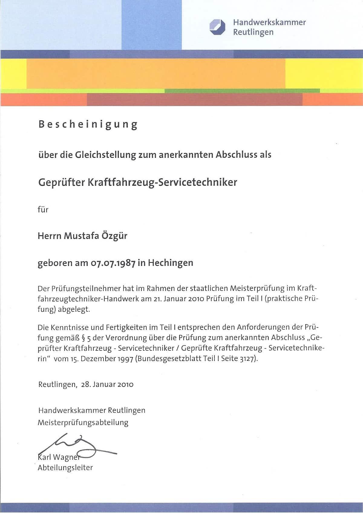 KFZ Srevicetchniker Bescheinigung Özgür