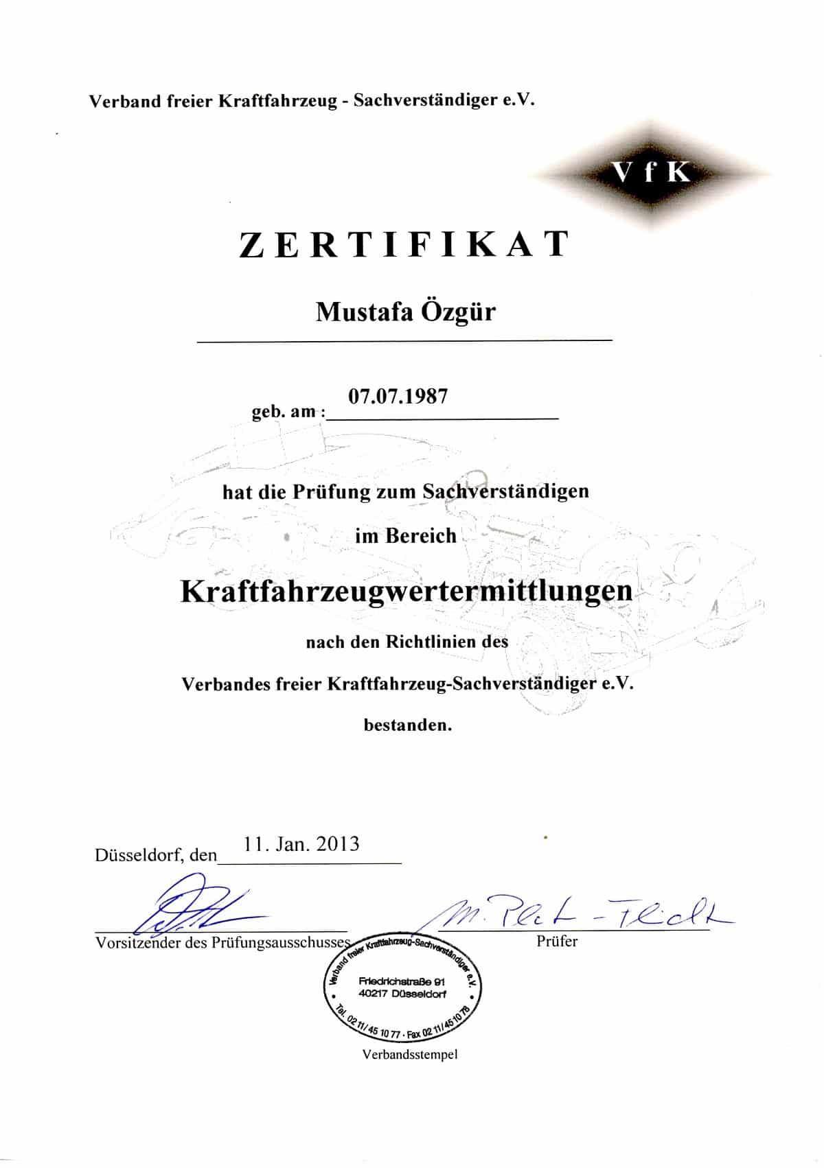 KFZ Wertermittlung Zertifikat