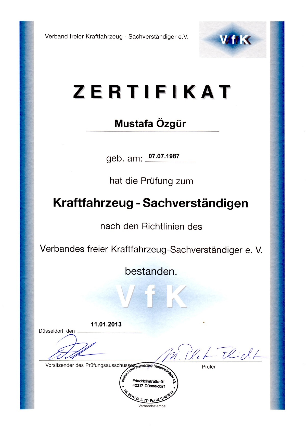 Mustafa Özgür Zertifikat Sachverständiger