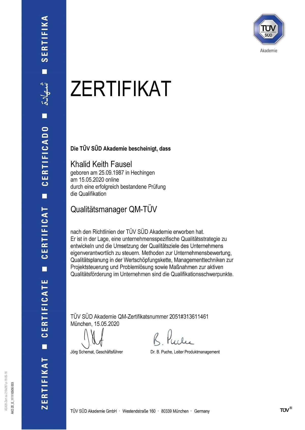Zertifikat Khalid Fausel QM TÜV