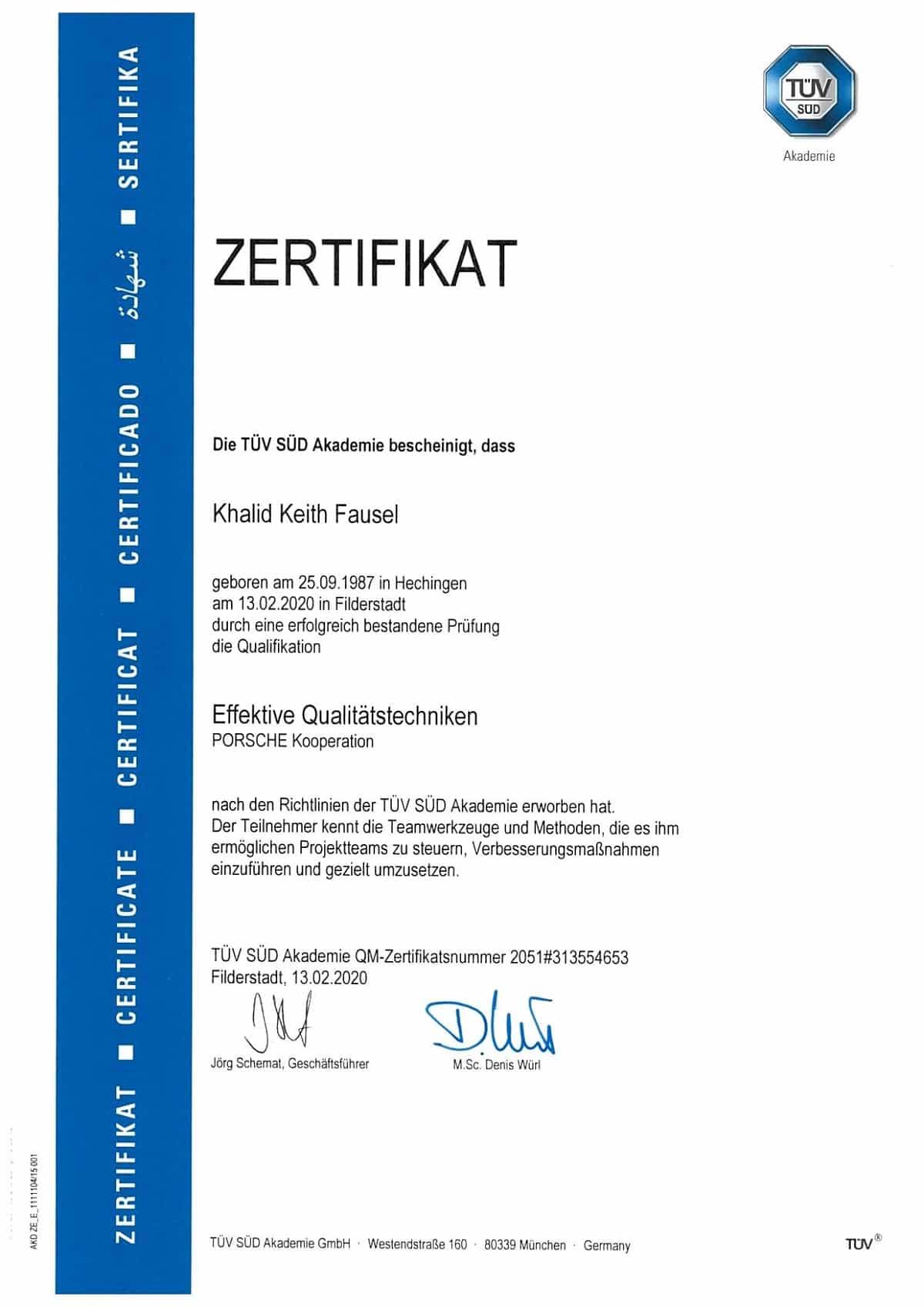 Zertifikat Tüv Akademie Khalid Fausel