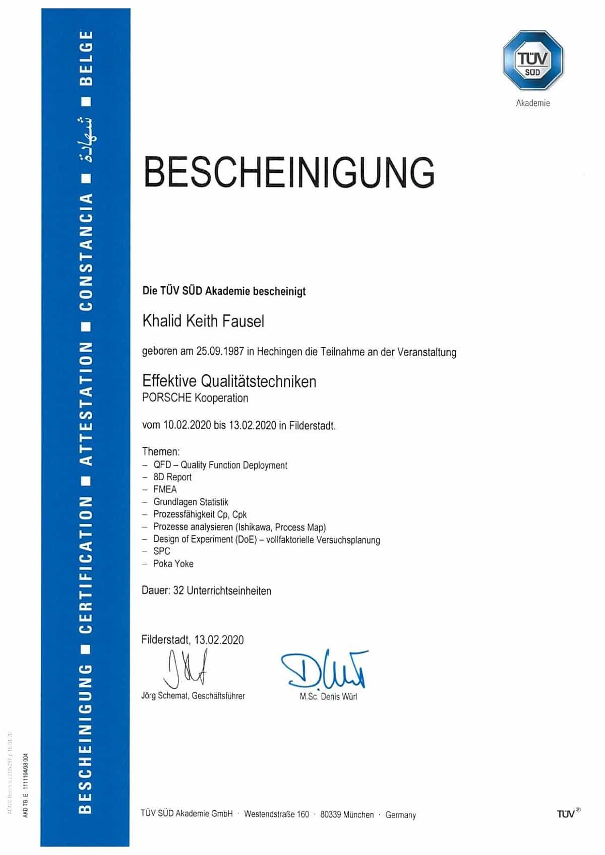 Khalid Fausel Bescheinigung Effektive Qualitätstechnicken